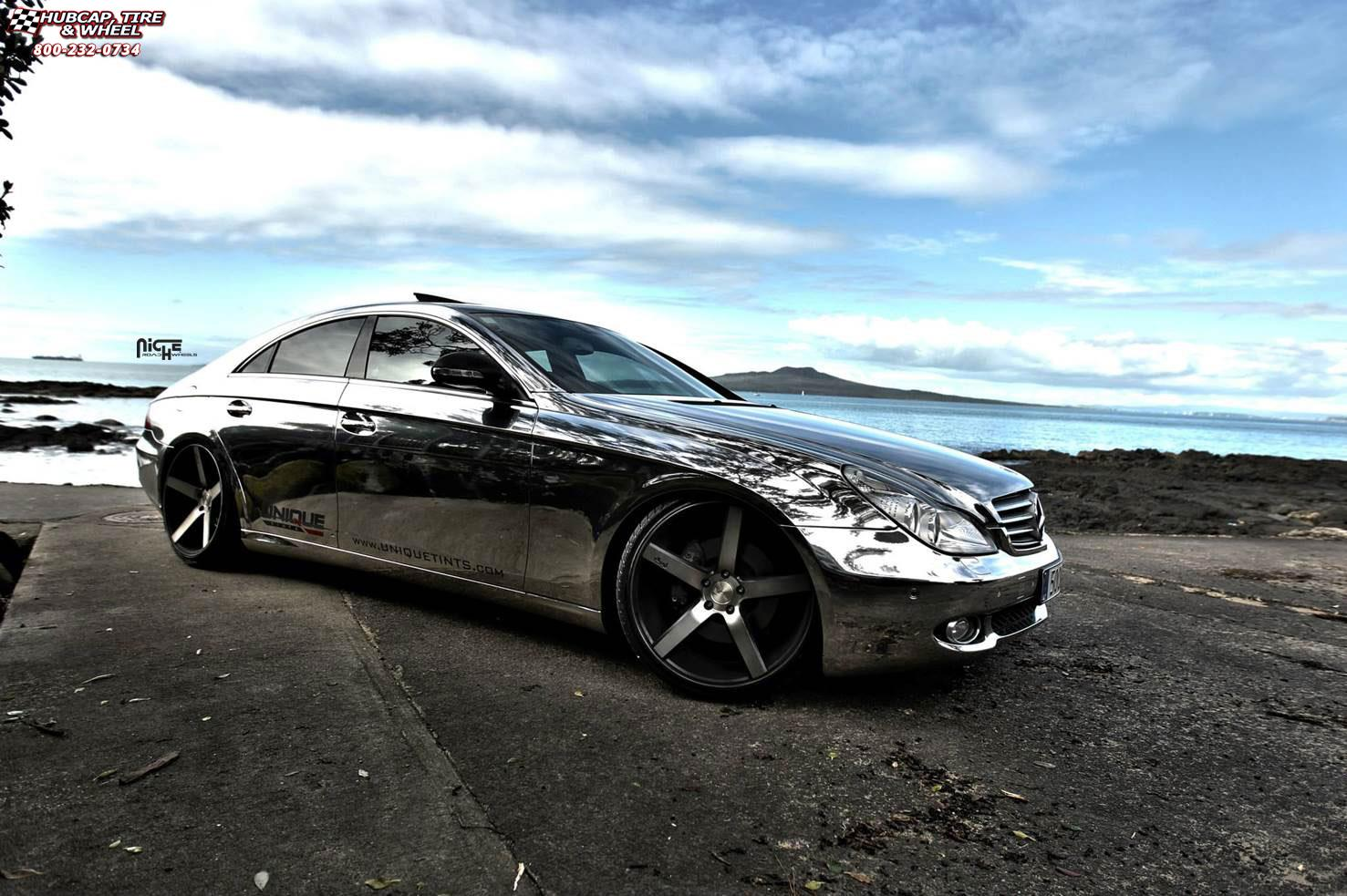 mercedes benz cls 500 niche milan m134 wheels black. Black Bedroom Furniture Sets. Home Design Ideas