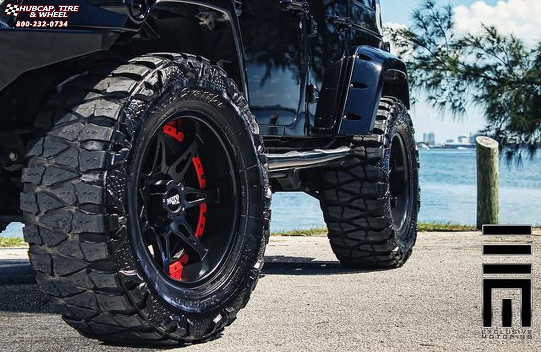 2012 Jeep Wrangler Moto Metal Mo961 Wheels Satin Black Red Insert