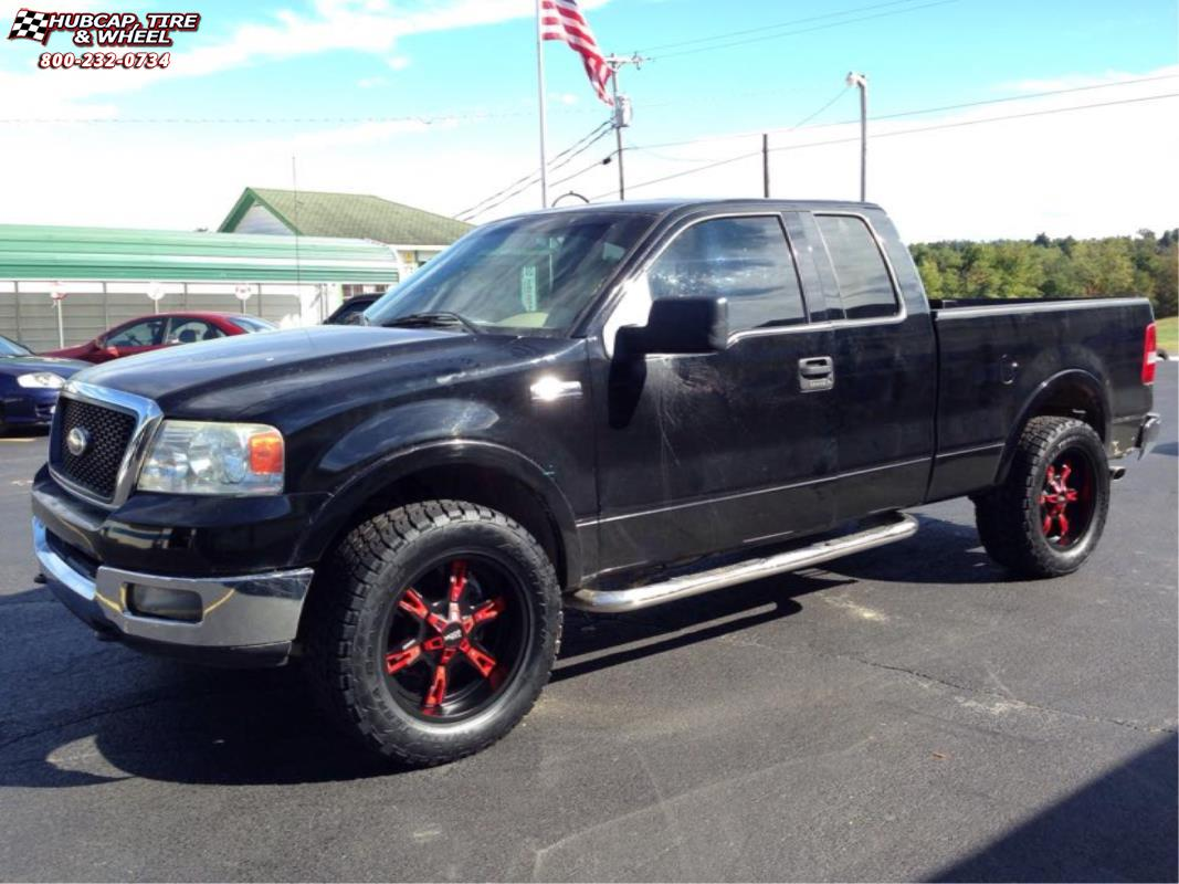 Ford F 150 Moto Metal Mo969 Wheels Satin Black Red Accents