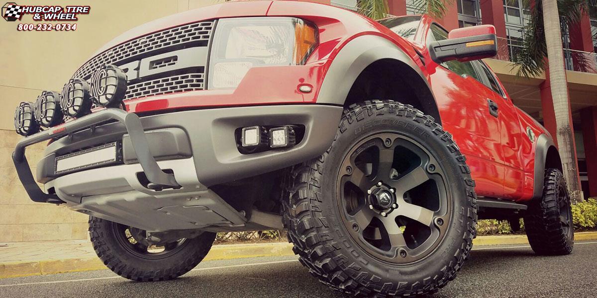 Ford f 150 fuel beast d564 wheels black machined with dark tint