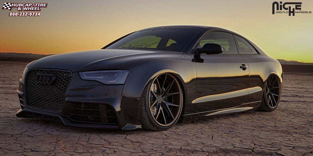 Audi S5 Niche Misano H61 Wheels Matte Black Copper Lip