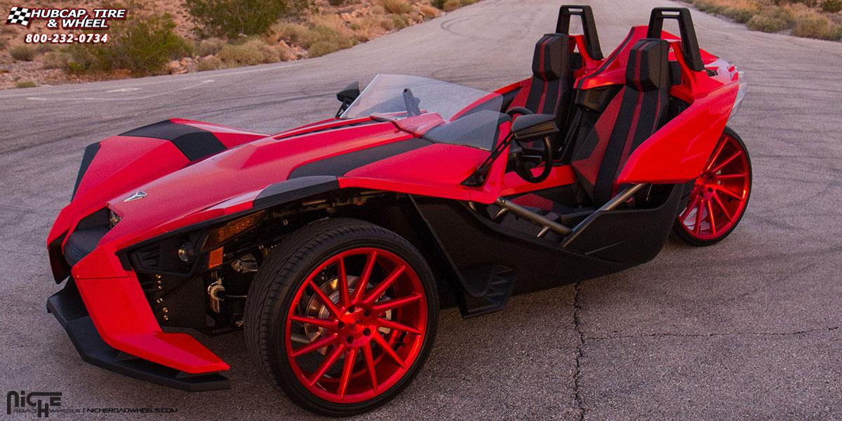 Polaris Slingshot Niche Surge M114 Wheels Brushed Candy Red
