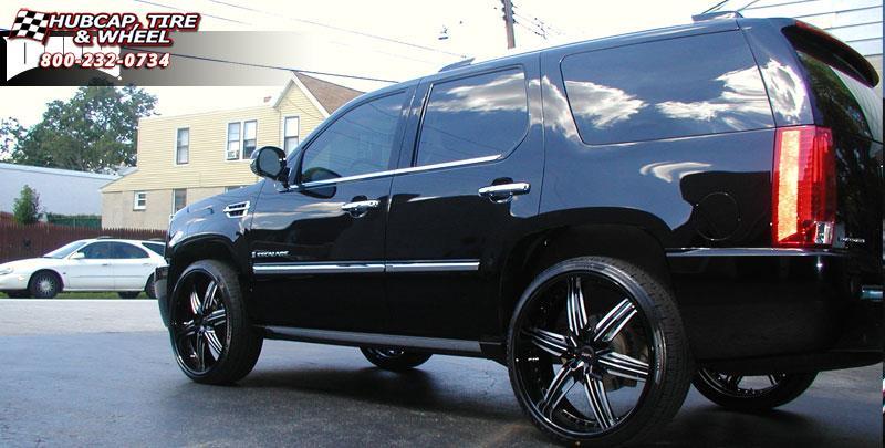 Cadillac Escalade Dub X 58 Wheels Matte Black W Red Accents