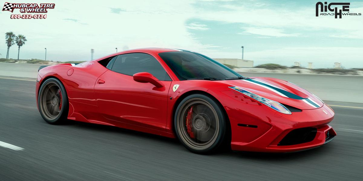 Hubcap Tire And Wheel >> Ferrari 458 Niche Roma Wheels Textured Bronze | Mono II