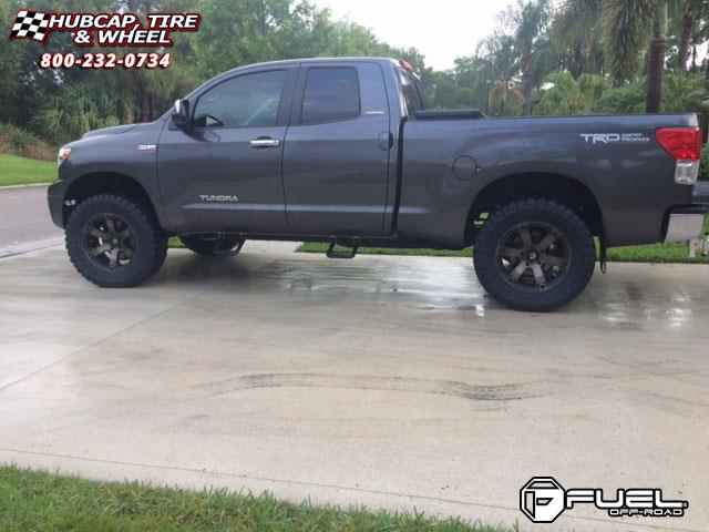 Toyota tundra fuel beast d564 wheels black machined with dark tint