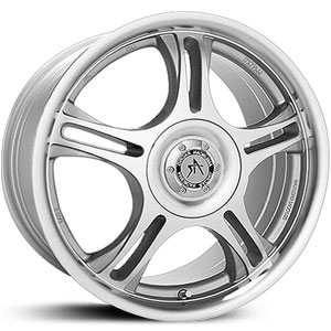 18x8 American Racing AR95T Silver / Machined Face And  Lip MID