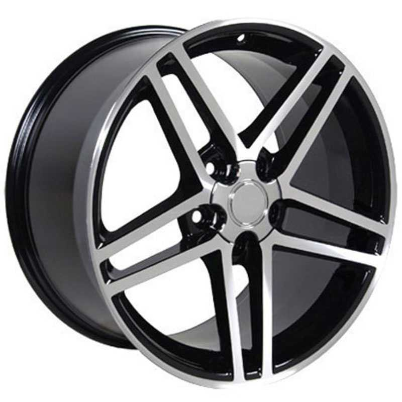 Chevy Corvette C6 Z06 CV07  Rims Black Machined Face