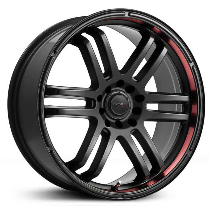 Drifz 207B FX  Wheels Carbon Black w/Red Racing Stripe