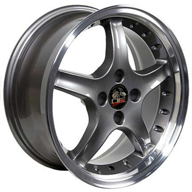 Fits Ford Mustang Cobra 4 Lug FR04  Wheels Anthracite Deep Dish Lip w/Rivets