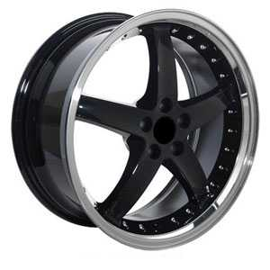 Fits Ford Mustang Cobra 5 Lug FR04  Wheels Black Deep Machined Lip w/Rivets