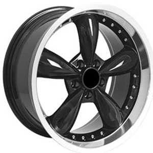 Fits Ford Mustang Bullitt FR08  Wheels Deep Dish Black Lip w/Rivets