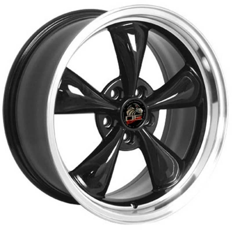 Fits Ford Mustang Bullitt FR01  Wheels Black Machined Lip