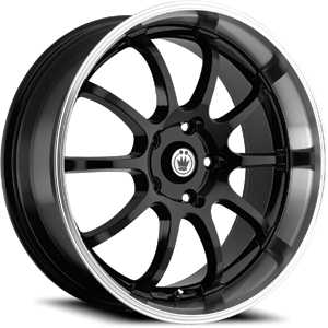 15x7 Konig Lightning Black/Machined Lip RWD
