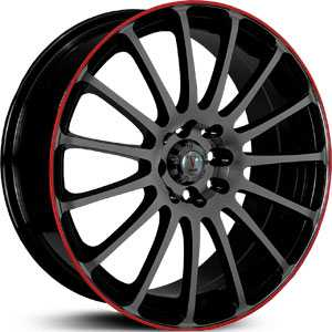Velocity 257  Rims Black/Red Stripe