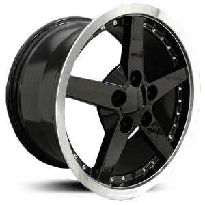 Chevy Corvette C6 CV06  Rims Deep Dish Black Machined Lip w/Rivets
