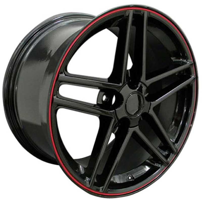 Chevy Corvette C6 Z06 CV07  Rims Black w/ Red Stripe