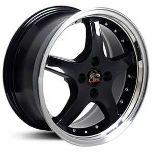 Fits Ford Mustang Cobra 4 Lug FR04  Wheels Black Deep Dish Lip w/Rivets