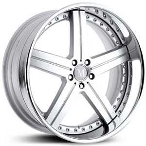 Mandrus Stuttgart  Wheels Silver w/ Mirror Cut Face & Chrome Lip