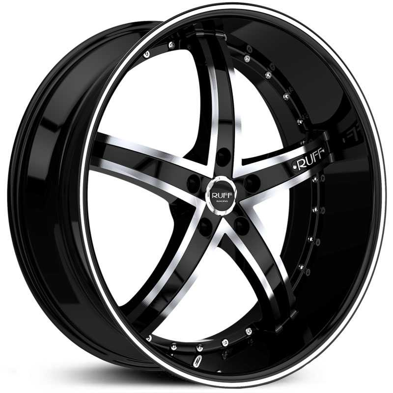 18x9.5 Ruff Racing R953 Black / Machined HPO