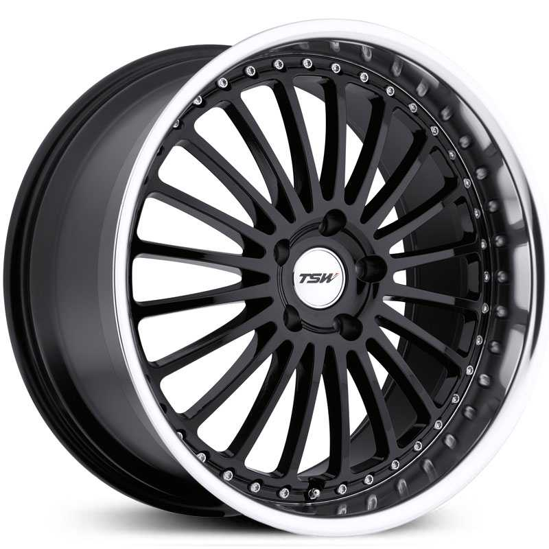 TSW Silverstone  Wheels Gloss Black w/ Mirror Cut Lip