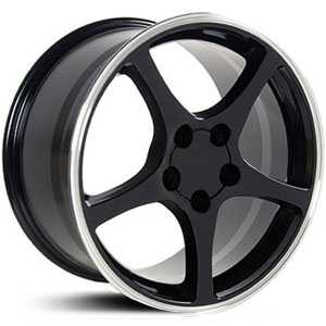 Chevy Corvette C5 CV05  Rims Black Machined Lip