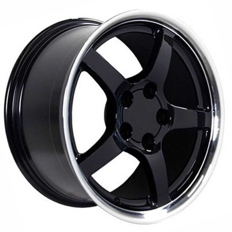 Chevy Corvette C5 CV05  Rims Deep Dish Black Machined Lip