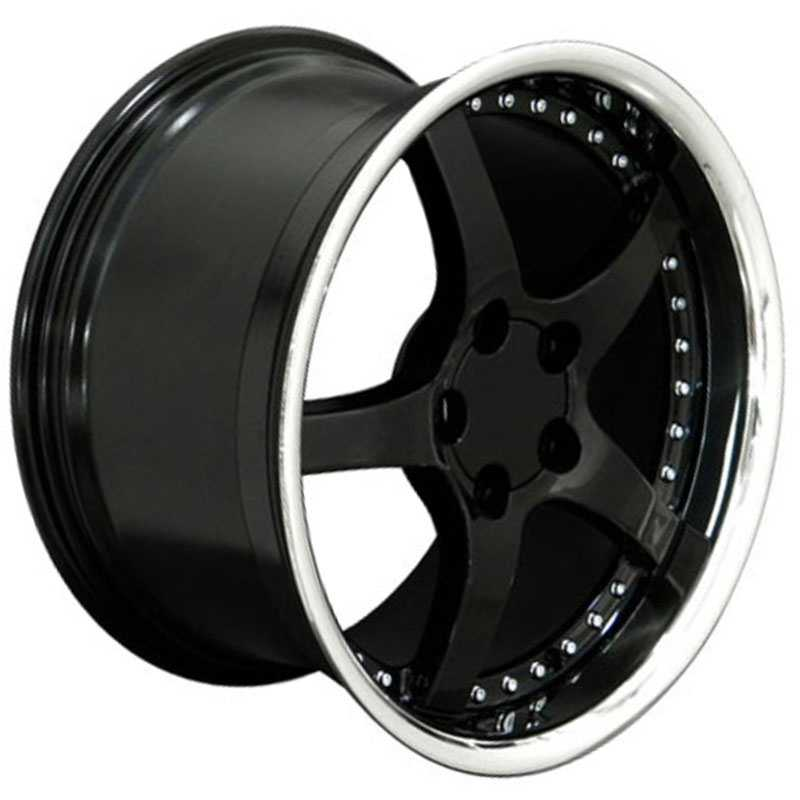 Chevy Corvette C5 CV05  Rims Deep Dish Black Steel Lip w/Rivets