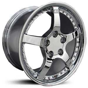 Chevy Corvette C5 CV05  Rims Deep Dish Chrome w/Rivets