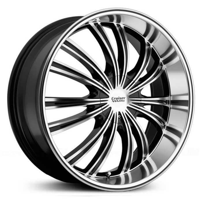 Cruiser Alloy 912MB Shadow  Wheels Gloss Black w/ Machined Lip
