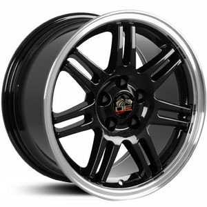 Fits Ford Mustang 10th Anniv. FR07  Wheels Black Deep Dish Machined Lip