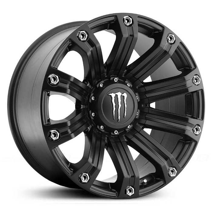 Monster Energy 534B  Wheels Satin Black w/ Chrome M Cap