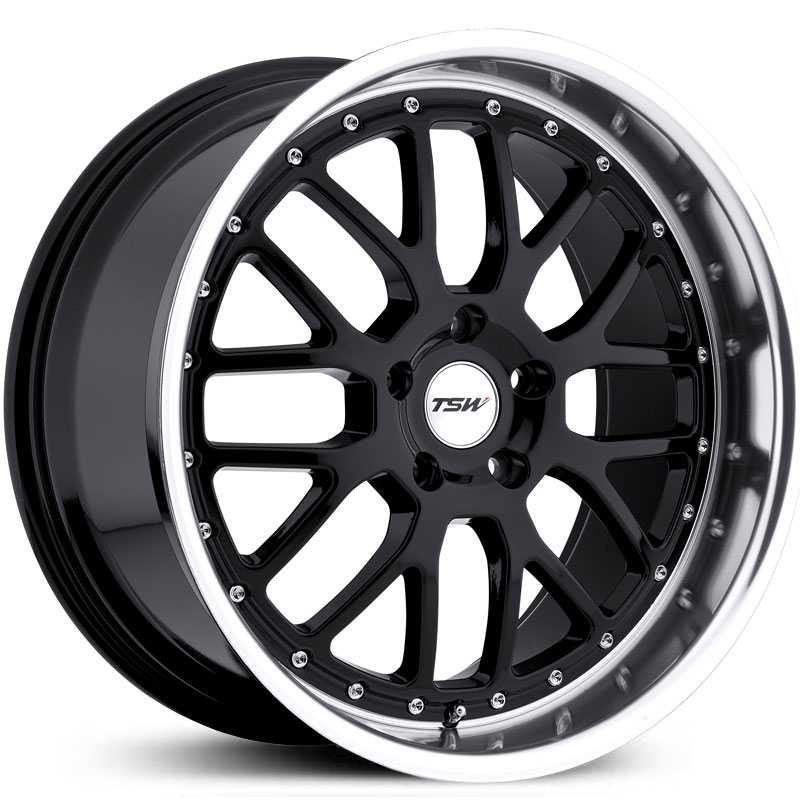 TSW Valencia  Wheels Gloss Black w/ Mirror Cut Lip