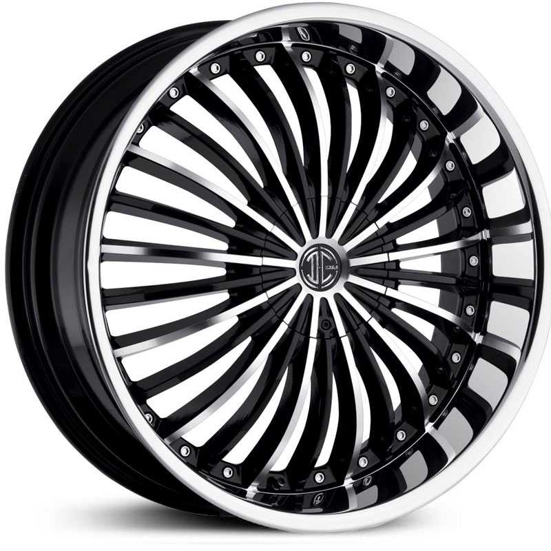 2Crave No 13  Wheels Glossy Black / Machined Face / Chrome Lip