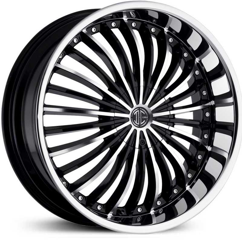 2Crave No 19  Wheels Glossy Black / Machined Face / Chrome Lip