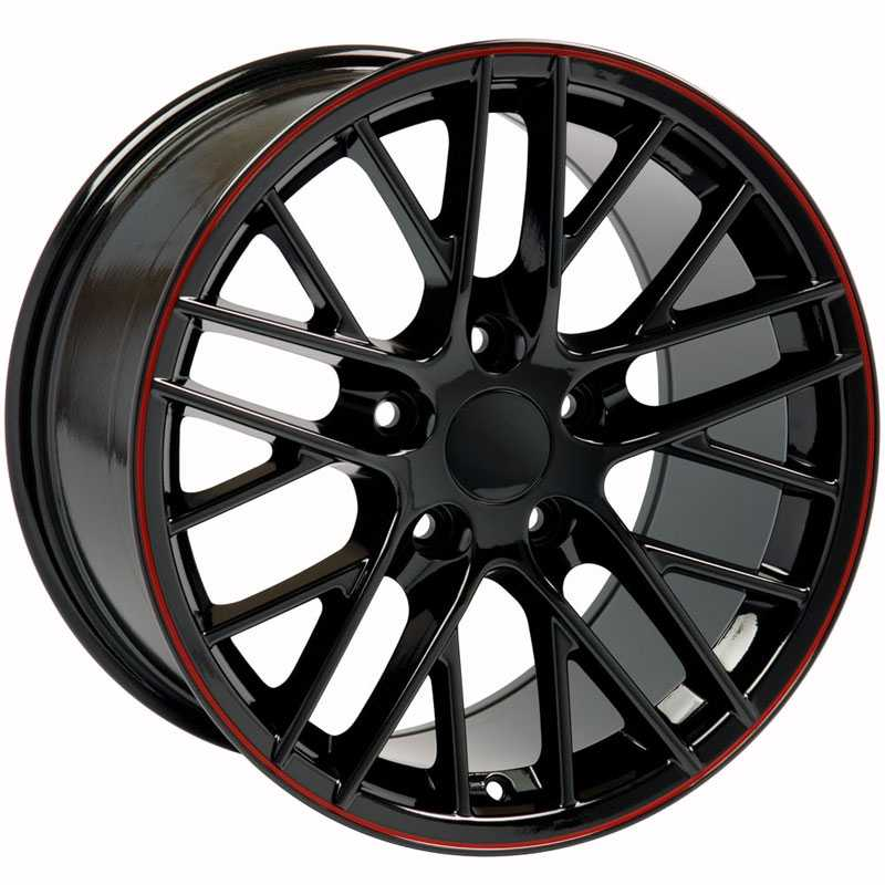 Chevy Corvette C6 ZR1 CV08  Wheels Black w/Red Banding