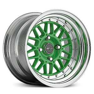 MSR 228  Wheels Polished with Green center