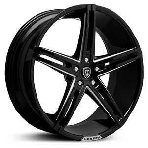 Lexani R-3 Three  Rims Gloss Black/CNC Milled Accents