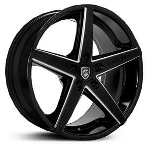 Lexani R-4 Four  Wheels Gloss Black/CNC Milled Accents