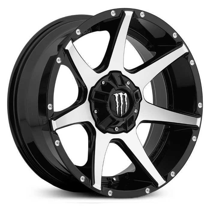 Monster Energy 647MB  Wheels Gloss Black w/ Mirror Machined Face & Chrome Cap