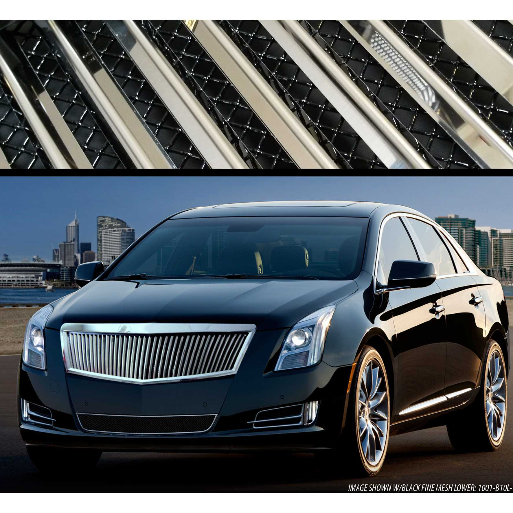 e g classics 2013 2015 cadillac xts grille classic silver vertical w black mesh backing upper. Black Bedroom Furniture Sets. Home Design Ideas
