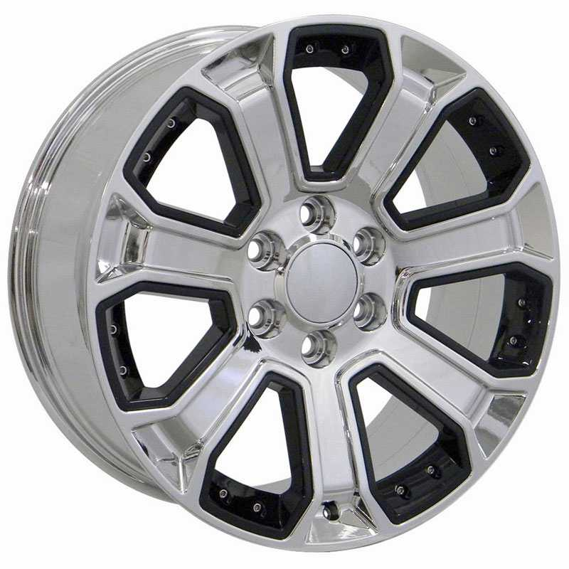 Chevy Silverado CV93  Rims PVD Chrome w/ Black Inserts