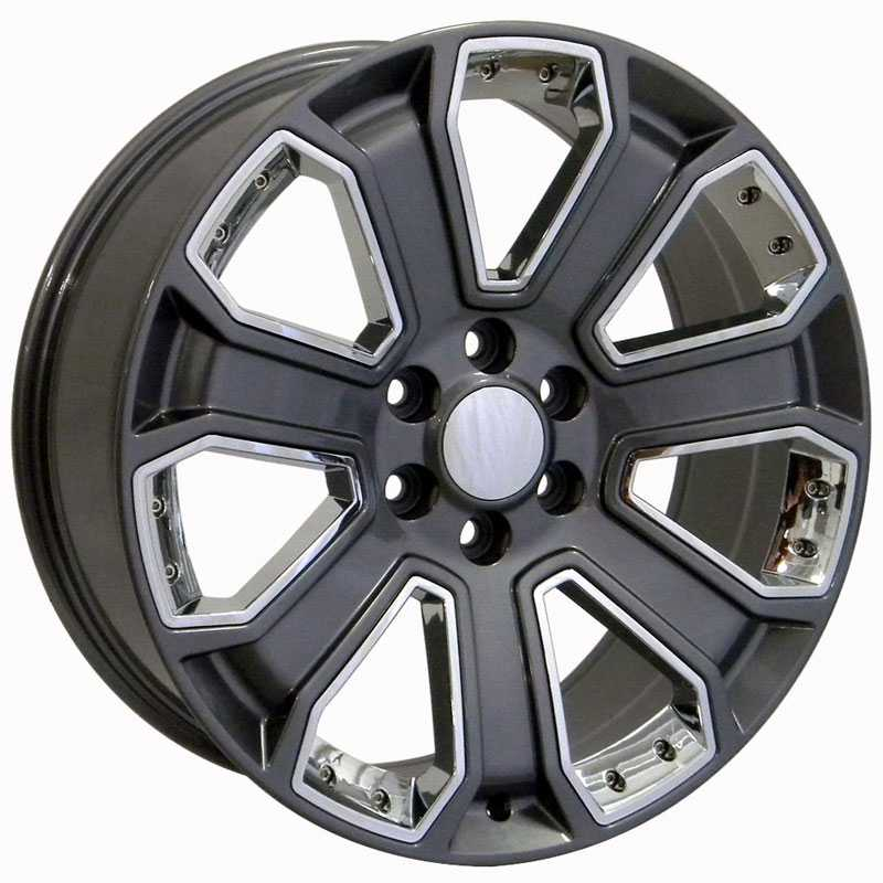 Chevy Silverado CV93  Wheels PVD Gunmetal w/ Chrome Inserts