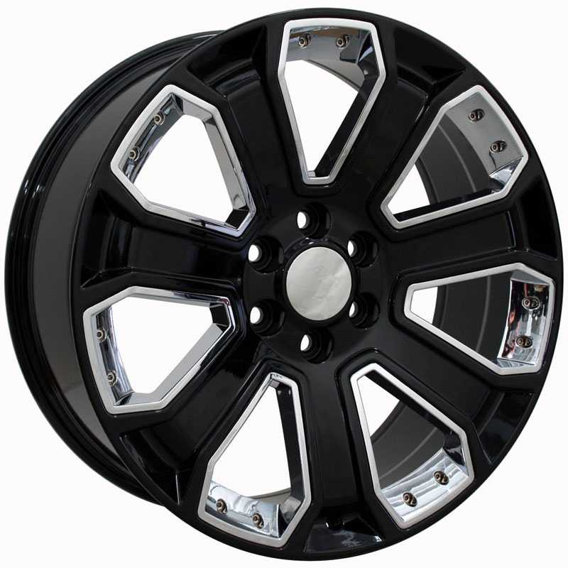 Chevy Silverado CV93  Wheels Black w/ Chrome Inserts