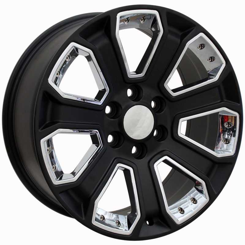 Chevy Silverado CV93  Rims Satin Black w/ Chrome Inserts
