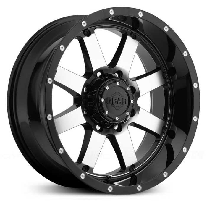 Gear Alloy 726M Big Block  Wheels Gloss Black Mirror Machined Face & Lip Accents