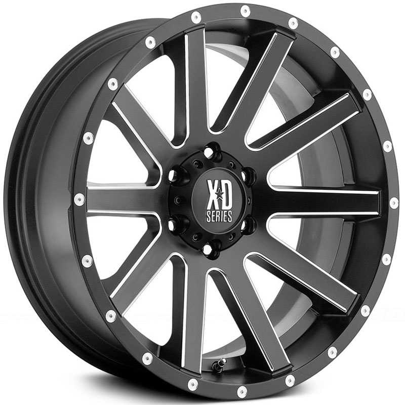 KMC XD Series XD818 Heist  Wheels Satin Black Black W/ Milled Spokes