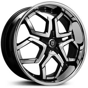 Lexani Hydra Covered Cap  Wheels Machined Black w/ Stainless Steel Lip