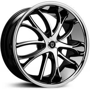 Lexani Polaris  Rims Machined Black w/ Stainless Steel Lip