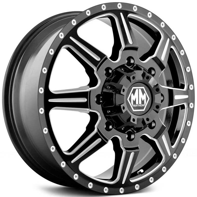 Mayhem Monstir Dually 8101  Wheels Black/Milled Spokes (Front)