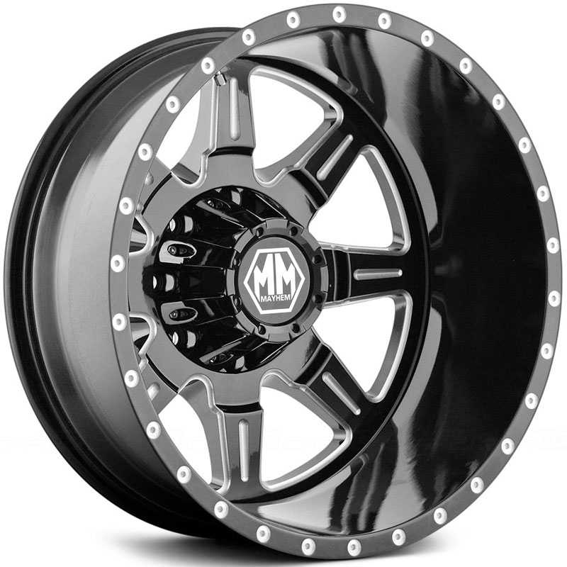 Mayhem Monstir Dually 8101  Wheels Black/Milled Spokes (Rear)